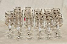 22 Pcs Gold Band Crystal Stemware
