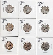 Nine 1950D Jeffereson Nickels