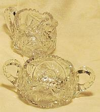 Cut Glass Vase, Creamer & Sugar