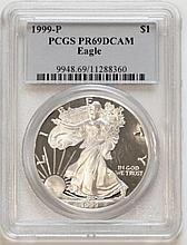 1999P American Eagle Silver Dollar PCGS PR69 DCAM
