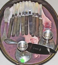 Coin Silver Cheese Knife, Sterling Handled Pie Server, 8 MOP Fruit Knives w/ Sterling Ferrules