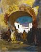 Charles DAGNAC-RIVIERE (1864-1945)   A la porte d'une ville orientale  Gouache   Signée en bas à gauche   23 x 18 cm   300/400