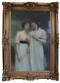 Joseph AUBERT (fin du XIXe - début du XXe siècle) Portrait de deux femmes Huile sur toile présentée dans un bel encadrement du temps Signée en haut à droite 146 x 98 cm Dimensions totales du cadre : 180 x 130 cm Les reflets sont dus à la vitre
