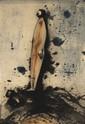 Ecole Contemporaine  Homme debout  Eau-forte en couleurs sur chine contrecollé  Signé indistinctement et daté 90  80 x 50 cm  (sans garantie de marge, piqûres)  100/200