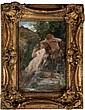 Jules-Joseph LEFEBVRE (1836-1912) Narcisse à la fontaine Huile sur toile Signé et dédicacée. 35 x 24 cm (restaurations)