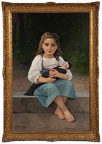 Francine CHARDERON (1861-1982) « Jeune fille à la poupée ». Huile sur toile Signée en bas à gauche et datée 1889. 119 x 83,5 cm...