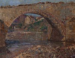 William Slocum Davenport (1968) Ecole Américaine, élève de Whistler « Le Pont de Ménat sur la Sioule » Huile sur toile Monogrammée...