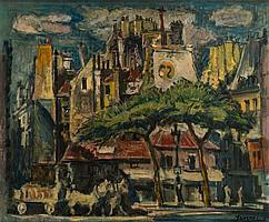 Pedro Flores (1897-1967) Place St André des Arts Huile sur toile. 53 x 63 cm