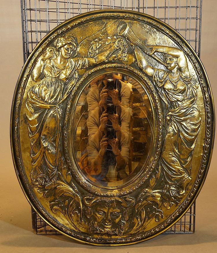 Miroir de forme ovale cadre en laiton repouss for Cadre miroir
