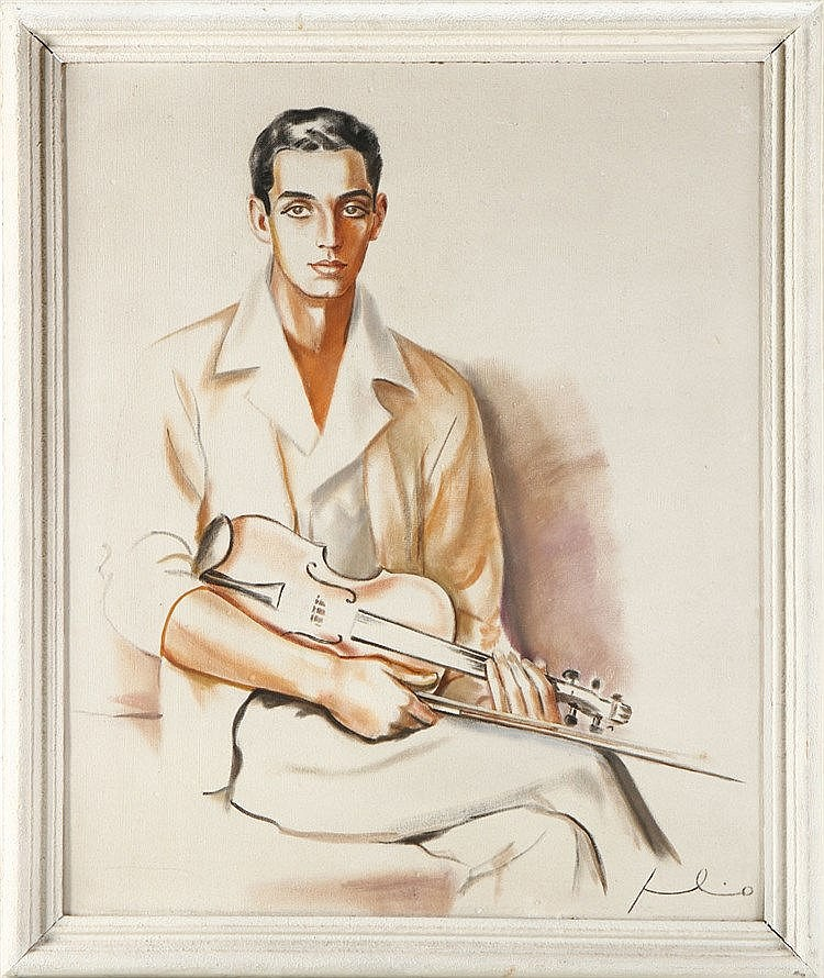 JÚLIO DE SOUSA (1906-1966), MALE FIGURE WITH A VIOLIN
