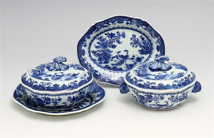 PAIR OF SMALL TUREENS WITH LONG PLATES