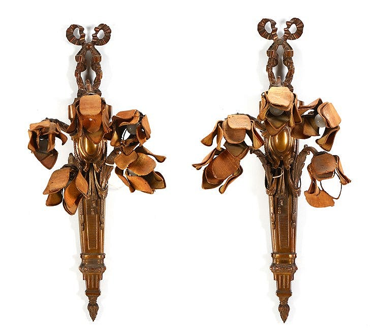 PAIR OF LARGE LOUIS XVI STYLE WALL APPLIQUES