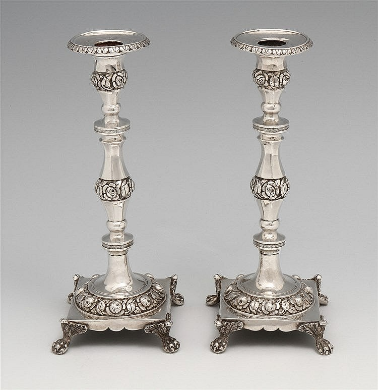 PAIR OF ROMANTIC CANDLESTICKS