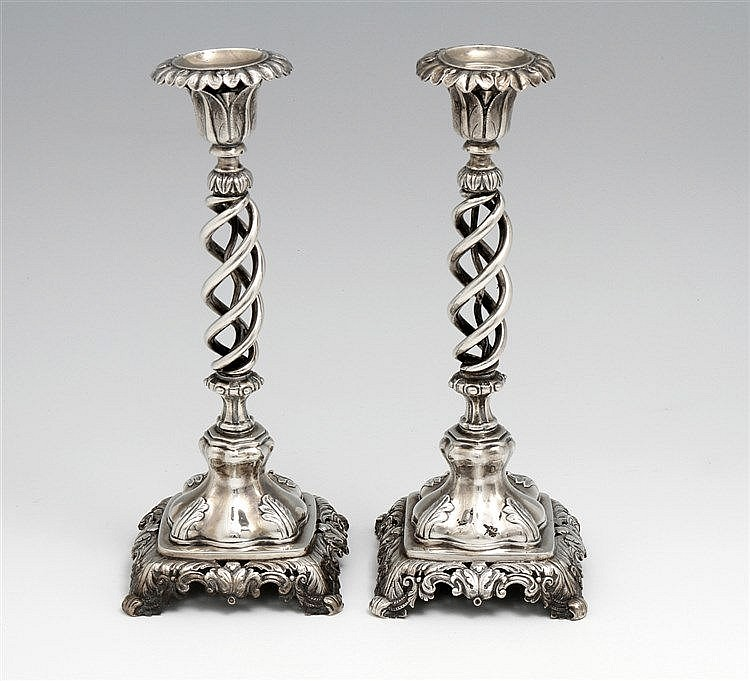 PAIR OF SPIRALED CANDLESTICKS
