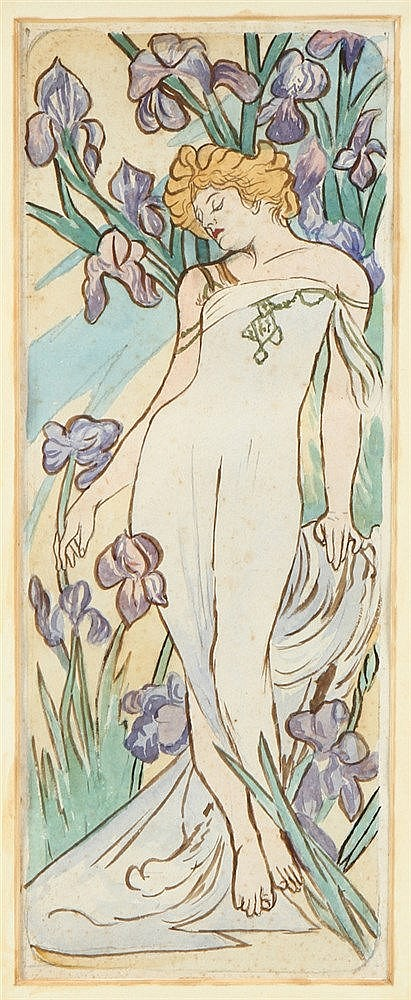 FRENCH SCHOOL, 19TH/20TH CENTURY, FEMALE FIGURE AND LILIES