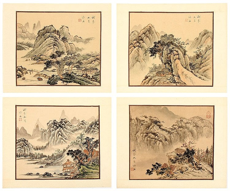 CHINESE SCHOOL, QING DYNASTY, RIVER SCENERIES WITH PAGODAS