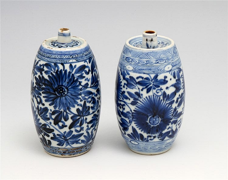 PAIR OF BARREL-SHAPED INCENSE HOLDERS