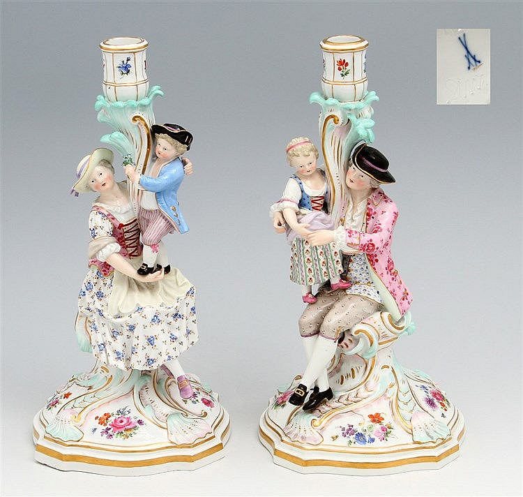PAIR OF FIGURES-CANDLESTICKS