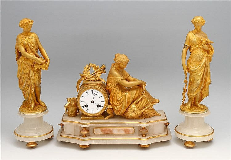 CLOCK AND PAIR OF FIGURES