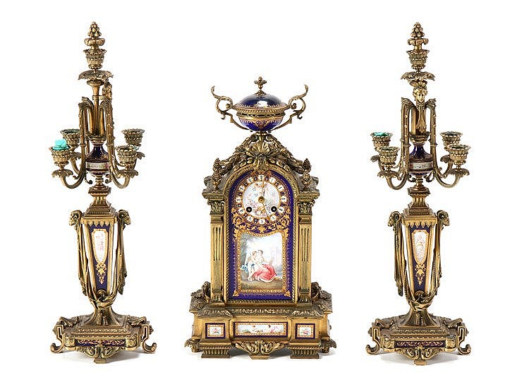 CLOCK AND PAIR OF NAPOLEON III CANDLESTICKS