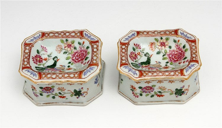 PAIR OF LOBED SALT CELLARS
