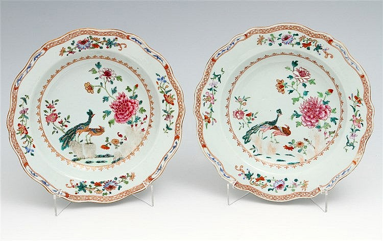 PAIR OF PLATES WITH LOBED BASES