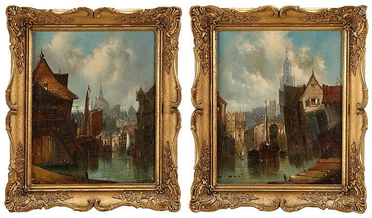 ALFRED VICKERS (1786-1868), VIEWS OF CITY WITH RIVER