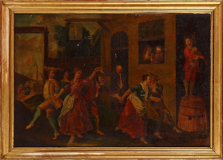 FRENCH SCHOOL. 18TH CENTURY, PARTY IN THE VILLAGE