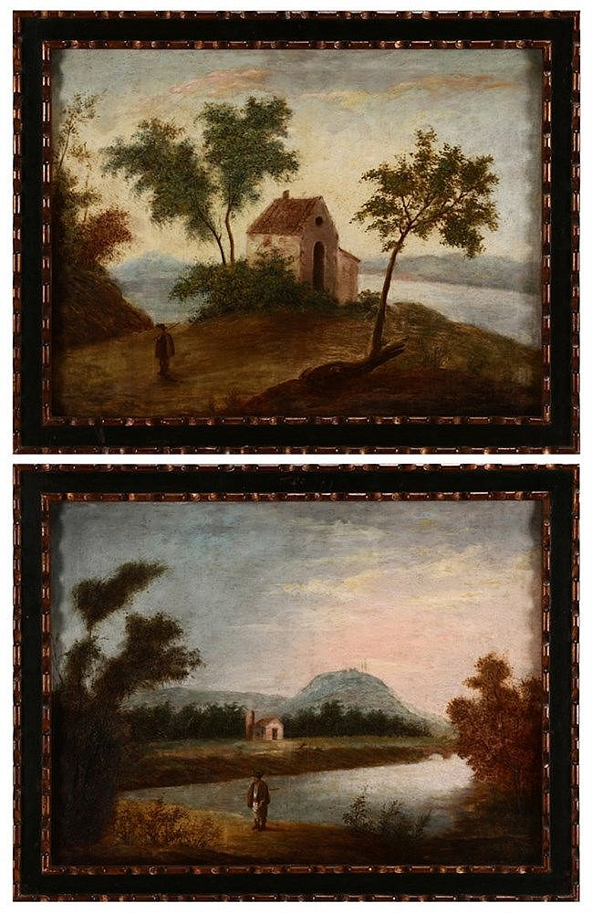 EUROPEAN SCHOOL, 18TH/19TH CENTURY, LANDSCAPES WITH FIGURES AND HOUSES