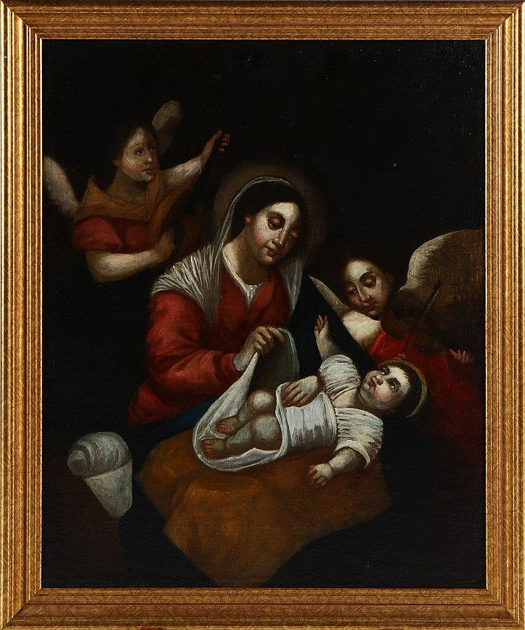 COLONIAL SCHOOL, 17TH CENTURY, VIRGIN WITH CHILD AND ANGELS-MUSICIANS