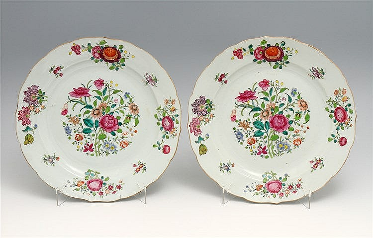 PAIR OF LARGE LOBED PLATES
