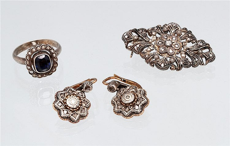 PIN, PAIR OF EARRINGS AND A RING