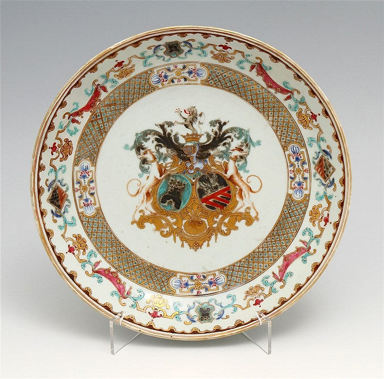 ROUND SAUCER WITH COAT OF ARMS