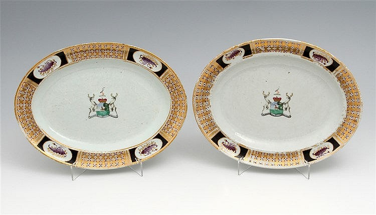 PAIR OF LONG PLATES WITH COAT OF ARMS