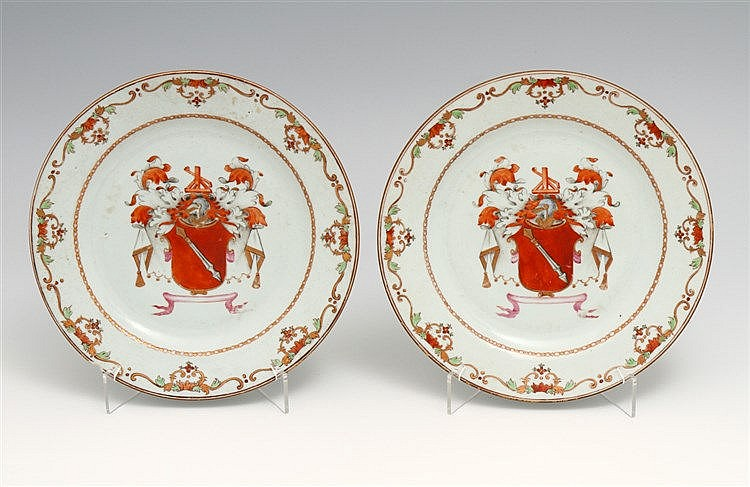 PAIR OF PLATES WITH COAT OF ARMS