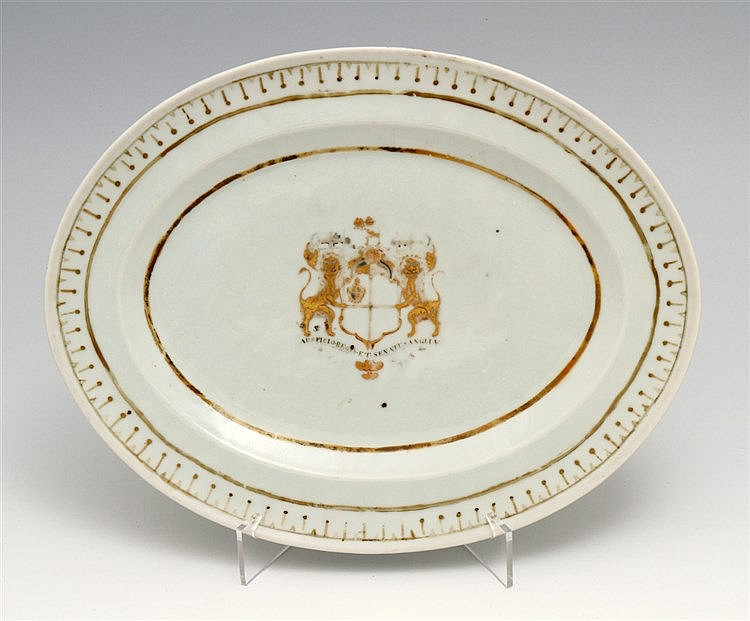 OVAL LONG PLATE WITH COAT OF ARMS