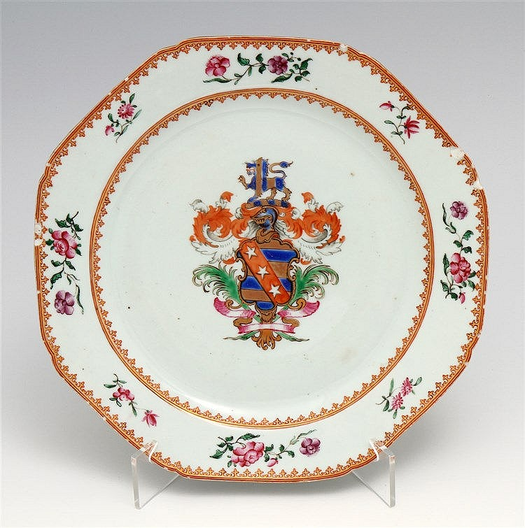 EIGHT-SIDED PLATE WITH COAT OF ARMS