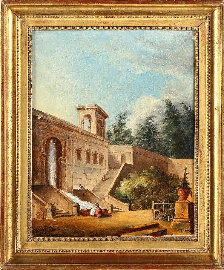 (possibly by) HUBERT ROBERT (1733-1808), WASHERWOMEN IN AN ITALIAN PARK