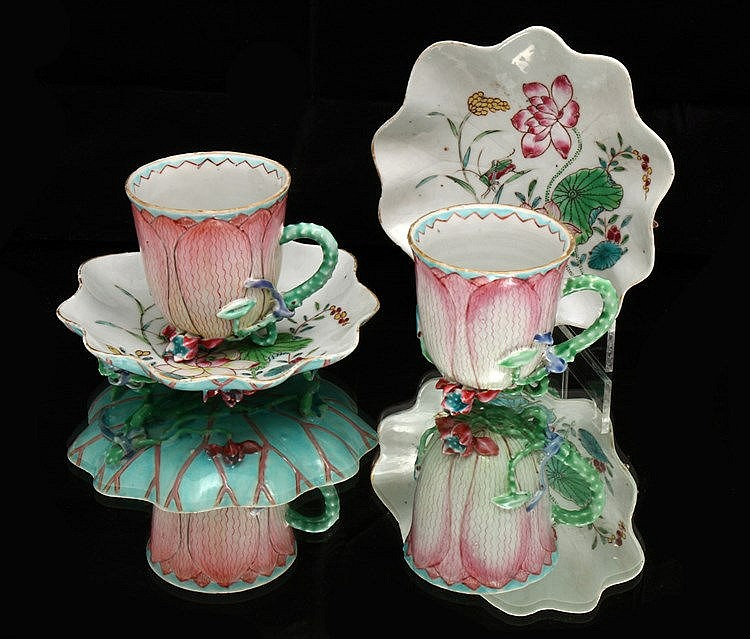 RARE PAIR OF TA CUPS AND SAUCERS