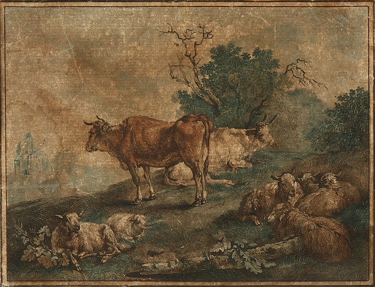 EUROPEAN SCHOOL, RURAL SCENERY WITH ANIMALS