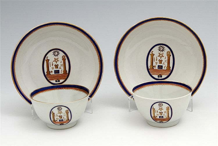 RARE PAIR OF CUPS AND SAUCERS