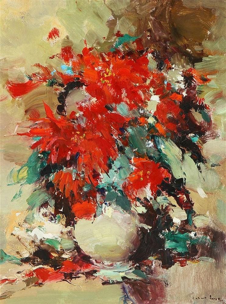 SILVA LINO (1911-1984), JVASE WITH FLOWERS
