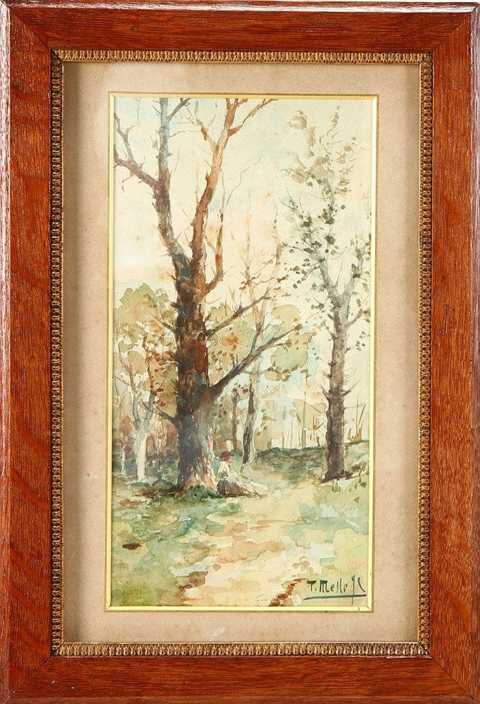 D. THOMAZ DE MELLO JR. (1866-1933), TREES WITH A FIGURE