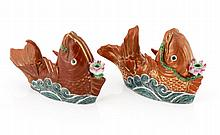 PAIR OF CARP-SHAPED INCENSE HOLDERS