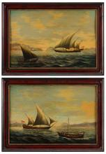 SALVATORE COLACICCO (B. 1935), SEASCAPES WITH BOATS