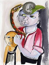 INACIO MATSINHE (B.1945), FIGURES WITH SNAKE