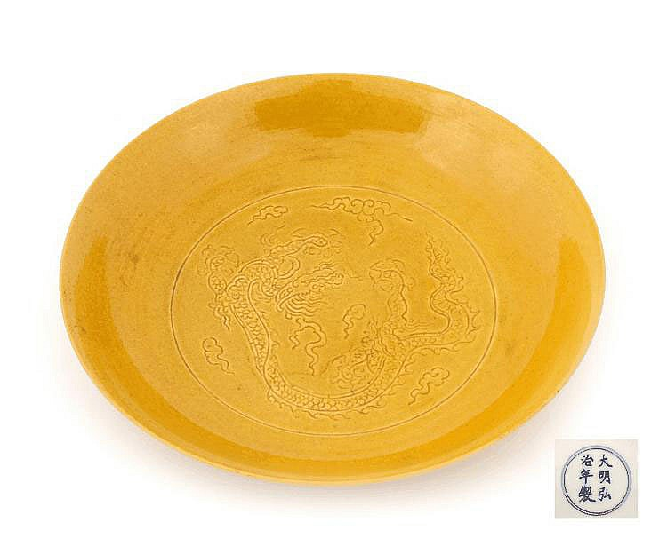 ROUND YELLOW GLAZED SAUCER