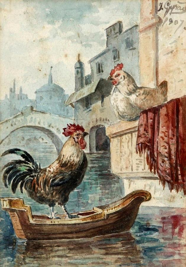 JOSÉ GIRÃO (1840-1916), VIEW OF VENICE WITH GONDOLA AND POULTRY