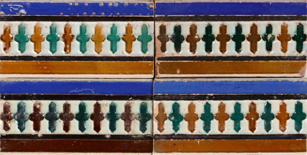 A SET OF 10 HISPANO-ARABIC TILES