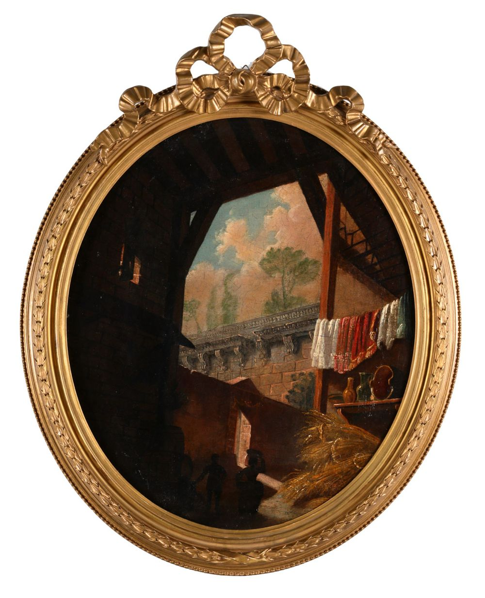 FRENCH SCHOOL (18TH CENTURY), EXTERIOR SCENE WITH FIGURES
